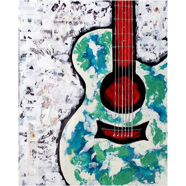 Original Artwork FANCY FLAMENCO, 16 in x 20 in, Unique Textured Guitar Painting on Canvas by Artist Tristina Dietz Elmes