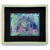 Original Artwork NEBULA SOUP, 17 in x 14 in, Unique Abstract Liquid Oil and Mixed Media Art Painting Framed in Aqua by Artist Tristina Dietz Elmes