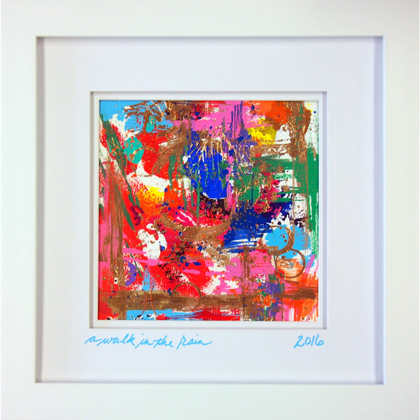 Original Artwork, A WALK IN THE RAIN, 10 in x 10 in x 1 in, Unique Abstract Mixed Media Art Painting on Paper Framed in White by Artist Tristina Dietz Elmes