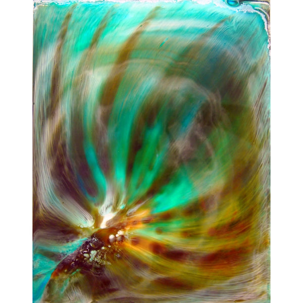 Original Artwork, AURA, 8 in x 10 in x 3/4 in, Unique Abstract Resin Art Painting on Wood Panel in White Frame by Artist Tristina Dietz Elmes