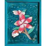 Original Artwork IN LOVE WITH PINK, 11 in x 14 in, Unique Liquid Oil Painting Art on Canvas in Teal Frame by Artist Tristina Dietz Elmes