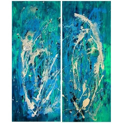 Original Artwork TOPAZ BLUE - 2-Panel Diptych, 32 in x 40 in, Unique Abstract Ocean Inspired Mixed Media Art Painting Including Gemstones by Artist Tristina Dietz Elmes