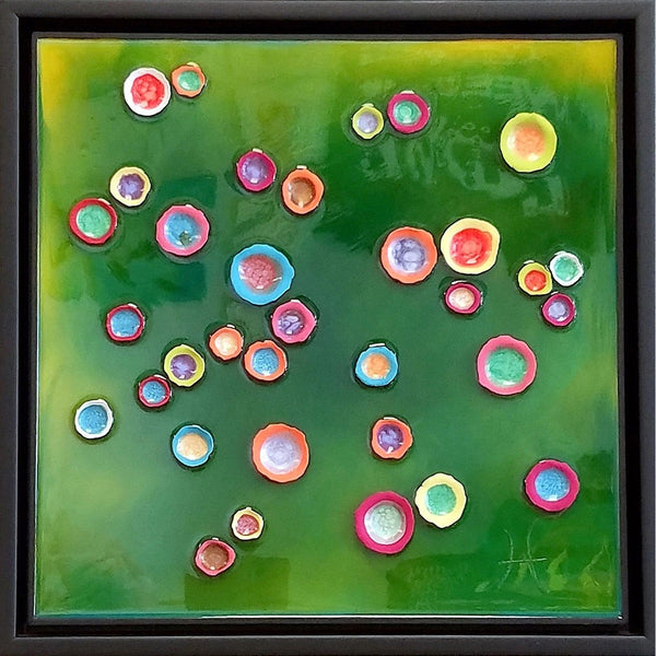 Original Artwork LOVE CUPS - RIVERBANK, 18 in x 18 in, Unique Abstract Mixed Media Art Painting on Board Framed in Black by Artist Tristina Dietz Elmes