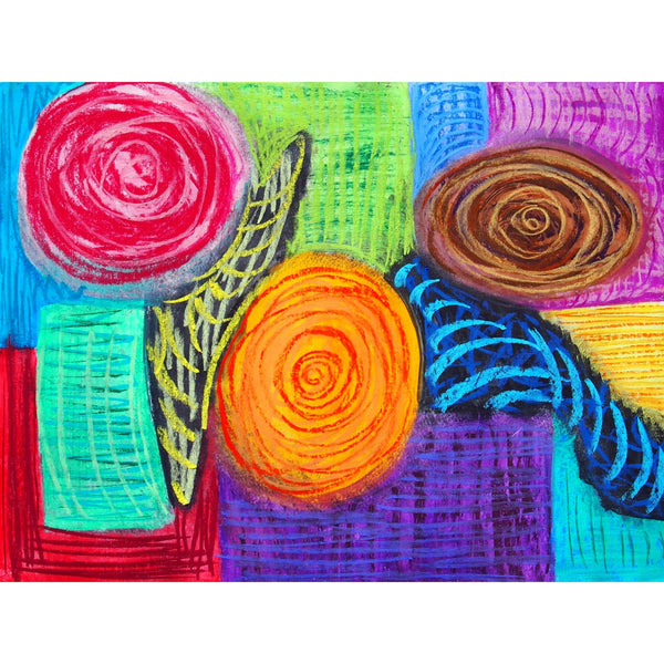 Original Artwork WALK THE WALK, 16 in x 19 in, Unique Abstract Pastel Art Painting on Paper Framed in Black by Artist Tristina Dietz Elmes