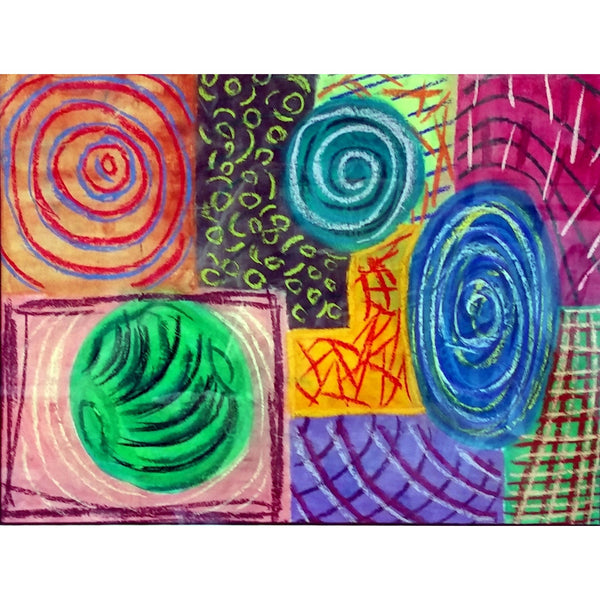 Original Artwork WIGGLE BOUNCE SWIRL, 16 in x 19 in, Unique Abstract Pastel Art Painting on Paper Framed in Black by Artist Tristina Dietz Elmes