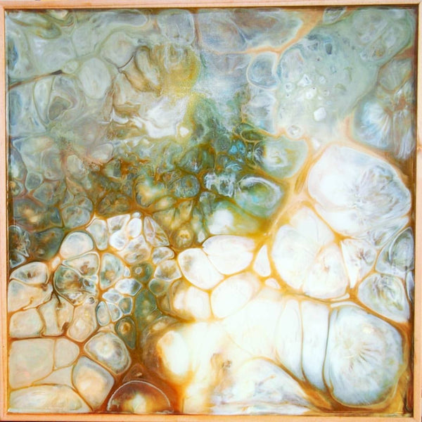 Original Artwork, TURTLE SKIN, 12 in x 12 in x 1.5 in, Unique Abstract Resin Art Painting on Wood Panel by Artist Tristina Dietz Elmes