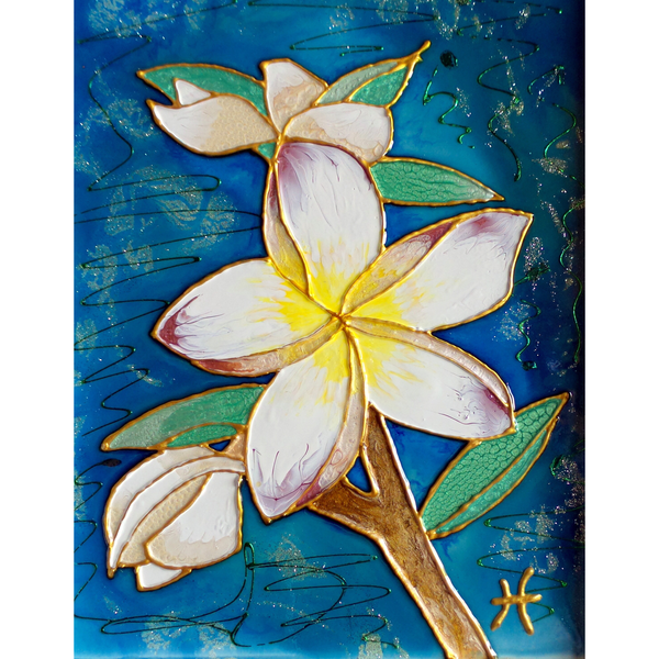 Original Artwork FRANGIPANI, 8 in x 10 in, Unique Liquid Oil Painting Art on Panel in White Frame by Artist Tristina Dietz Elmes