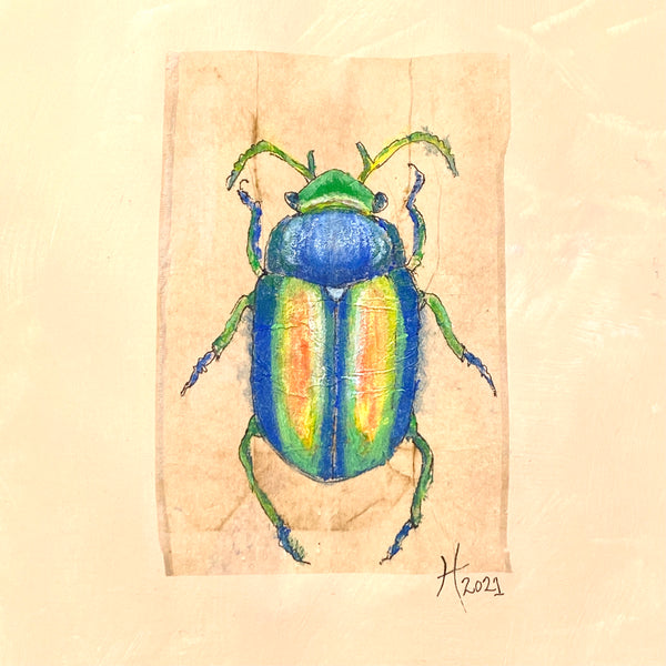 Original or Print Artwork BEETLE #2 Unique Hand-Drawn Art Painting on Paper Matted and Ready to Frame by Artist Tristina Dietz Elmes