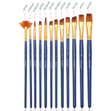 Paint Brushes 12 Piece Economy Variety Set Medium Stiff Nylon Hair Brush, Shapes Round Flat Filbert Angle and Fan Tip Watercolor Gouache Acrylic and Mixed Media Painting Brush Set Art Supplies