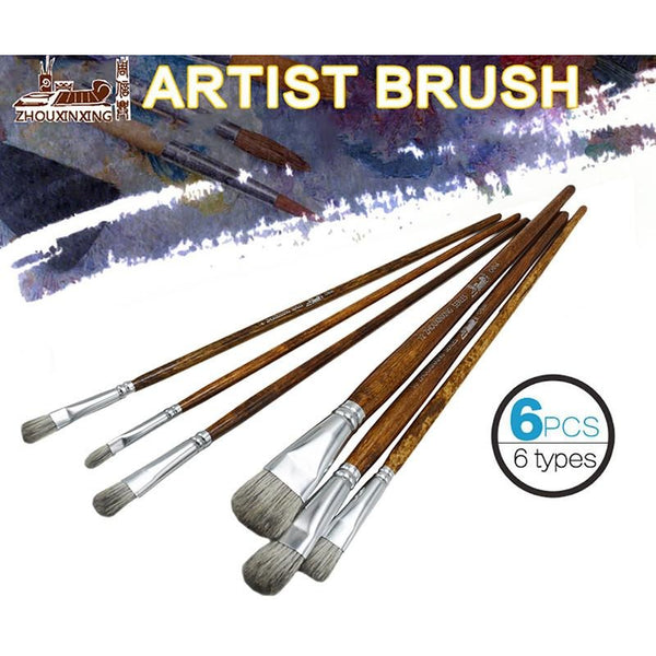 Paint Brushes 6 Piece Set Medium Soft Mixed Hair Squirrel-like Watercolor Gouache and Acrylic Paint Brush Set For Painting Art Supplies