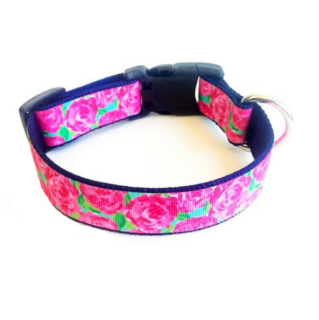 'Rosey Posey' Lilly Pulitzer Inspired Dog Collar