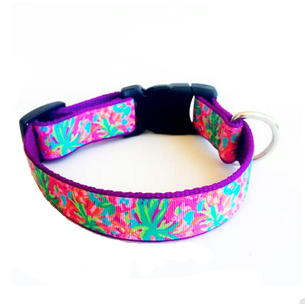 'Fancy Flamingo' Lilly Pulitzer Inspired Dog Collar