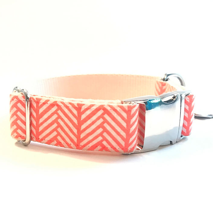 'Demi' Coral Herringbone Premium Dog Collar