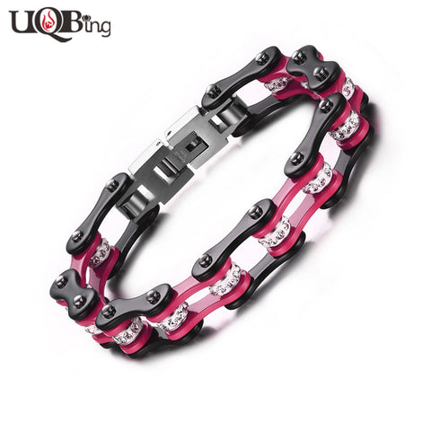 Motorcycle Black Pink Chain Bracelets