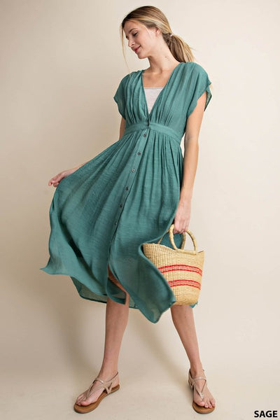 Sage - Button Down Dress