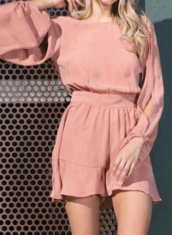 Cold Shoulder Romper - Dusty Mauve