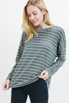 Lora Stripped Long Sleeve - Olive