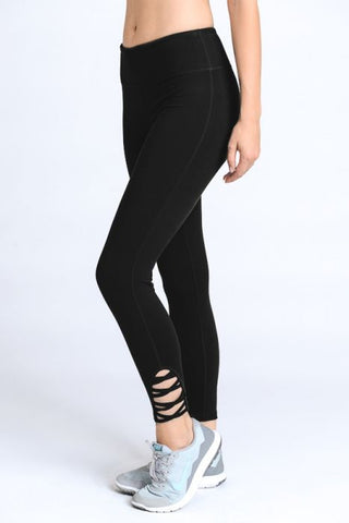 Lattice Strap Full Length Leggings - Black