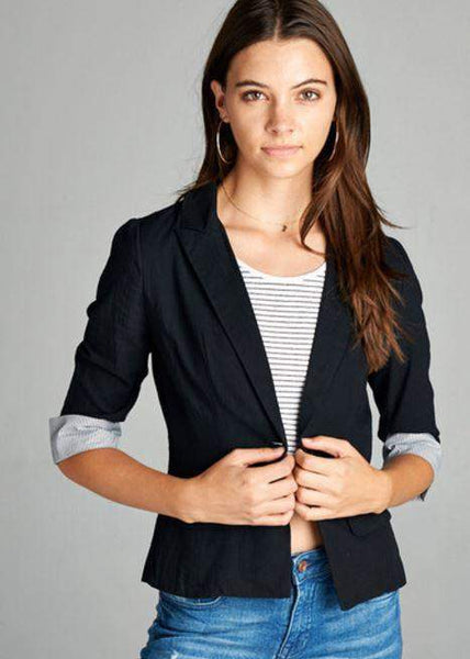 Black Jacket with Pinstripe Cuffs-Kimonos/Cardigans/Vest/Shawls/Jackets-Moonshine and Lace Boutique