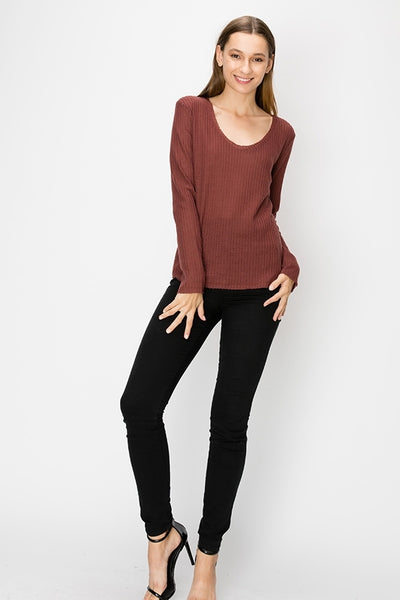 Mary - Waffle Knit Long Sleeve Top