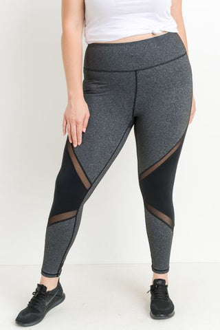 Highwaist Slanted Colorblock Mesh Full Length