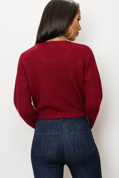 Talitha - Tie Front Sweater - Wine