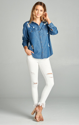 Distressed Denim Shirt-Tops/Tunics-Moonshine and Lace Boutique