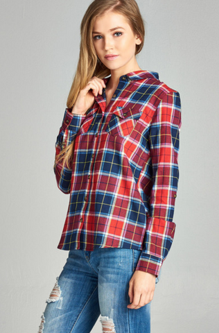 Plaid Shirt-Tops/Tunics-Moonshine and Lace Boutique