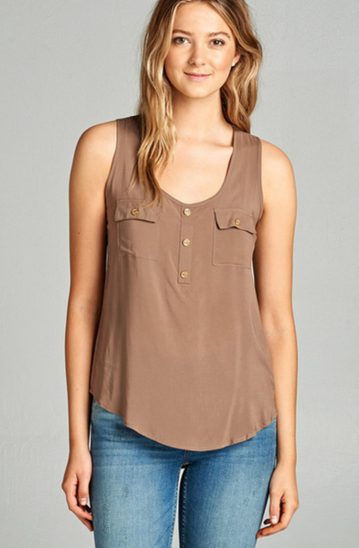 Rayon Tank with Double Pockets-Tops/Tunics-Moonshine and Lace Boutique