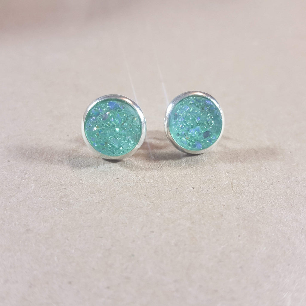 Bezeled Earrings - Mint-Jewelry-Moonshine and Lace Boutique