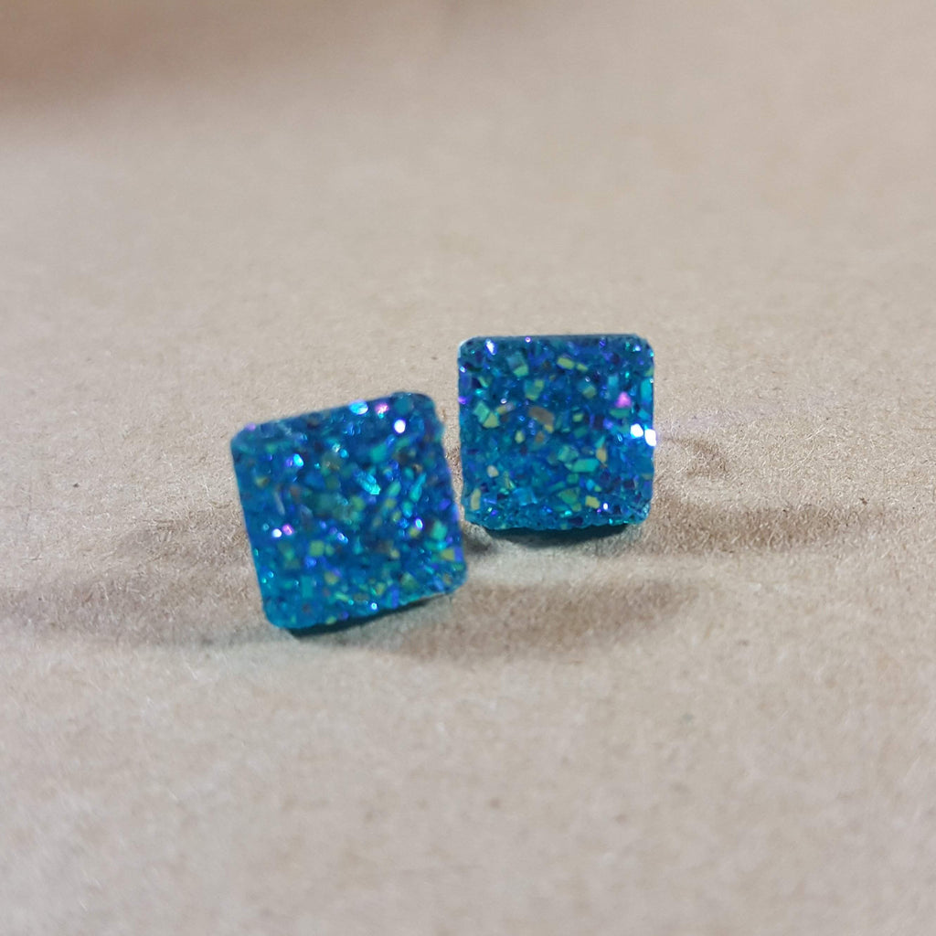Bezeled Earrings - Light Blue Square-Jewelry-Moonshine and Lace Boutique