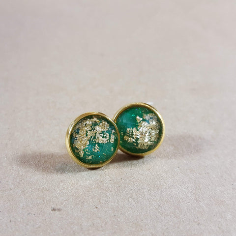 Bezeled Earrings - Green and Gold-Jewelry-Moonshine and Lace Boutique