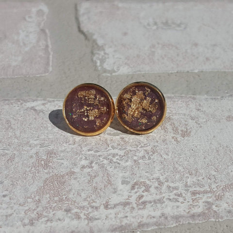 Maroon and Gold Leaf Stone Earrings-Jewelry-Moonshine and Lace Boutique