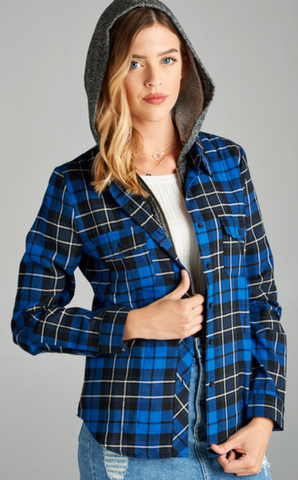 Button Up Plaid Hooded Shirt-Tops/Tunics-Moonshine and Lace Boutique