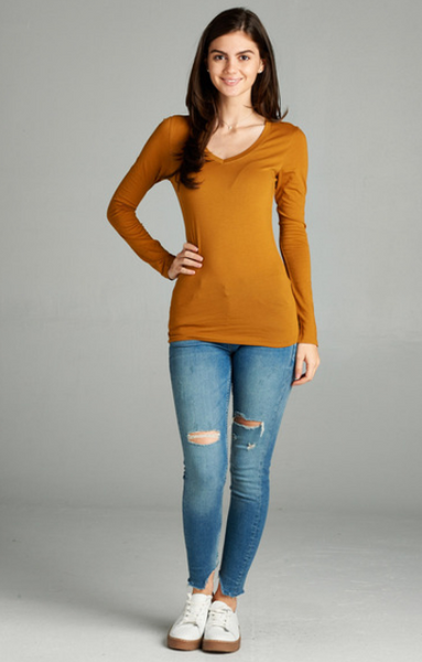 Long Sleeve V-Neck Tee-Tops/Tunics-Moonshine and Lace Boutique