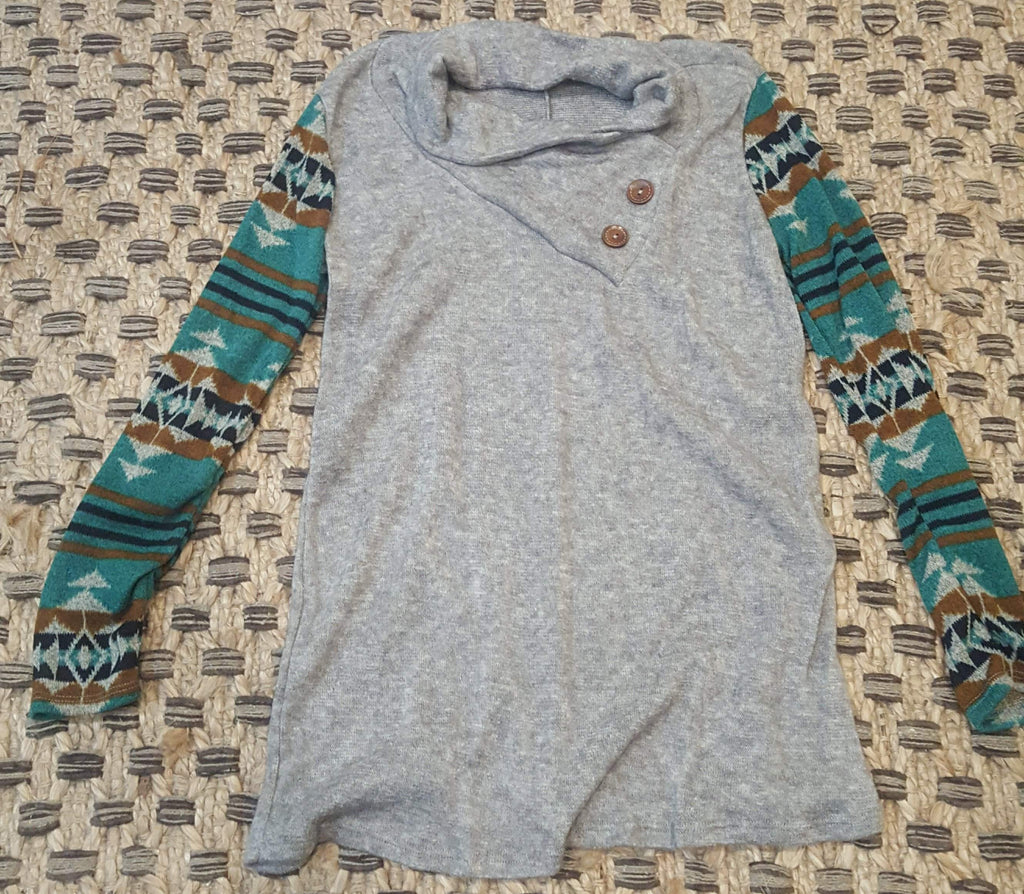 Navajo Sleeve with Neck Button Knit Sweater-Tops/Tunics-Moonshine and Lace Boutique