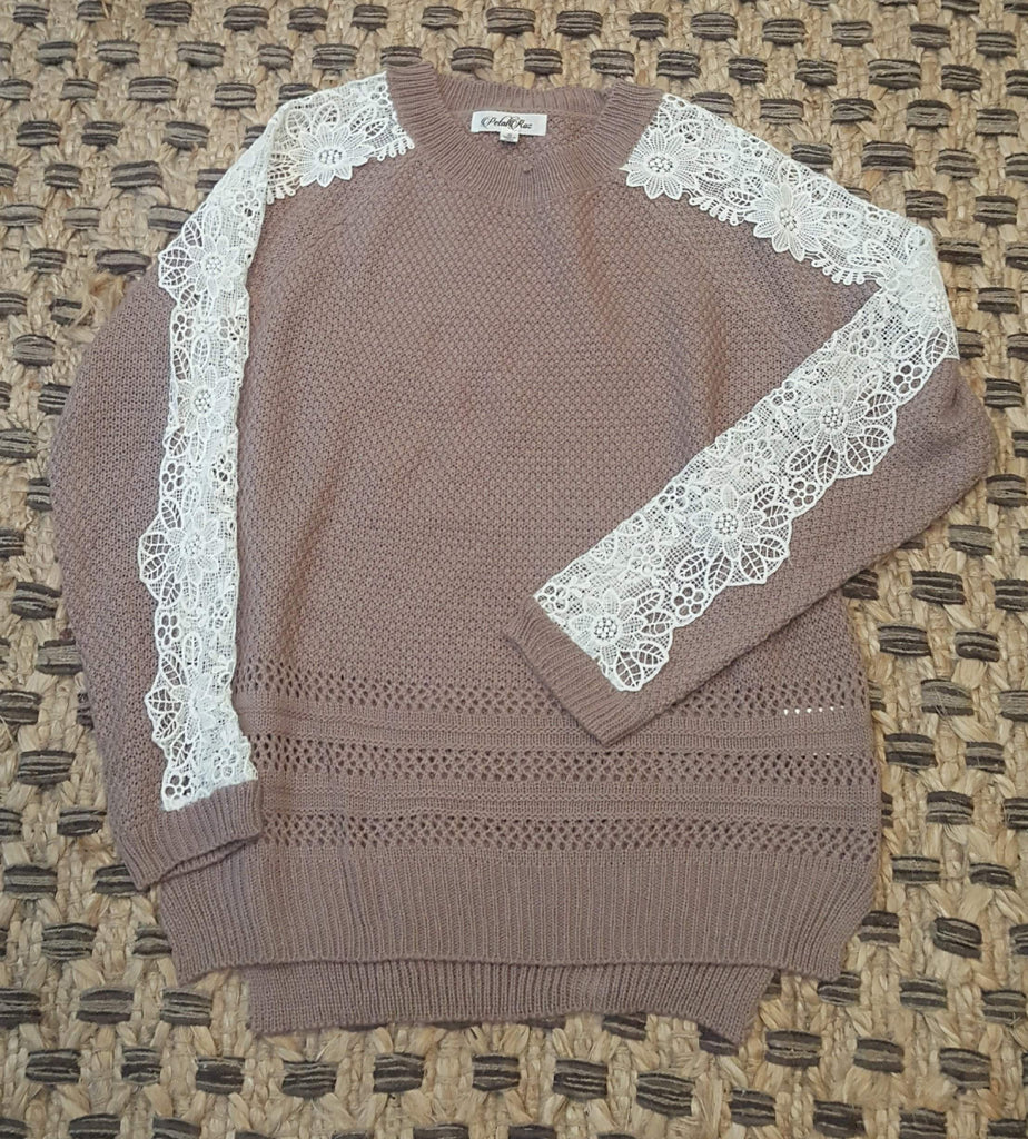 Knit Sweater with Ribbon Hem - Mocha-Tops/Tunics-Moonshine and Lace Boutique
