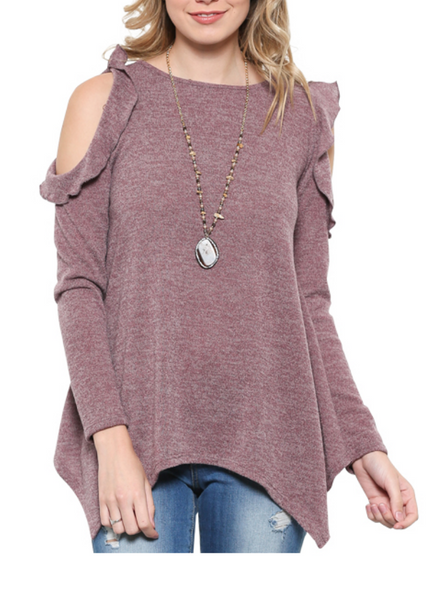 Long sleeve Ruffle Shoulder Top - Orchid-Tops/Tunics-Moonshine and Lace Boutique