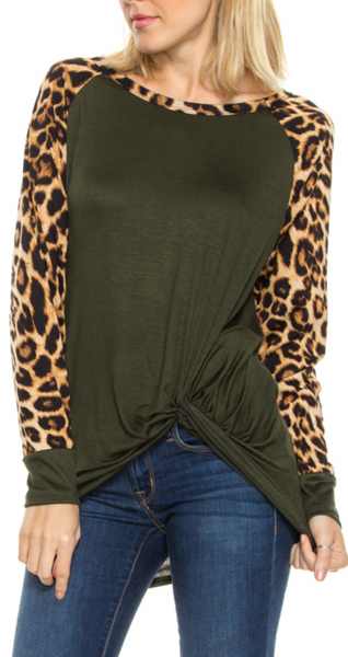 Raglan Top with Leaopard Sleeves and Front Knot - Olive-Tops/Tunics-Moonshine and Lace Boutique
