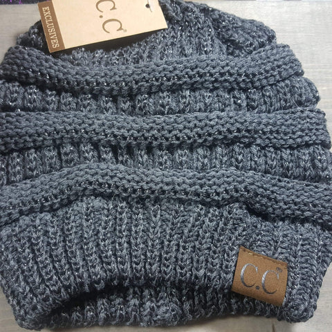 C.C. Messy Bun Beanie-Hats-Moonshine and Lace Boutique