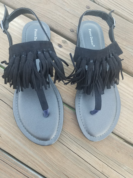 Roxy - Black Suede Fringe Sandals
