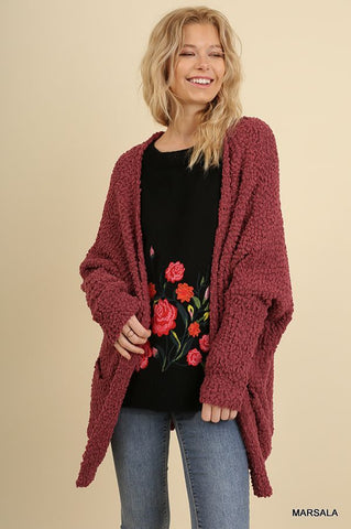 Pure Comfort Cozy Cardigan - Marsala-Kimonos/Cardigans/Vest/Shawls/Jackets-Moonshine and Lace Boutique