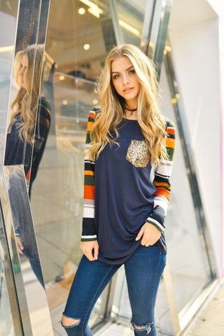 Long Sleeve Top with Stripe Sleeves and Sequins Pocket-Tops/Tunics-Moonshine and Lace Boutique