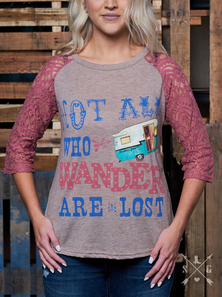 Not All Who Wander Are Lost with Lace Sleeves-Graphic Tee-Moonshine and Lace Boutique