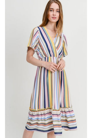 Sophia - Striped Midi Baby Doll Dress