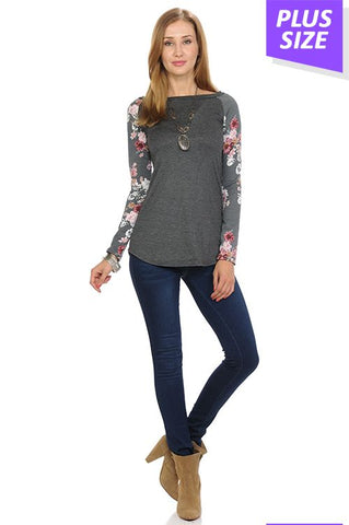 Long Sleeve Raglan Top with Floral Sleeves-Tops/Tunics-Moonshine and Lace Boutique