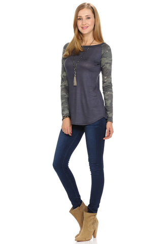 Long Sleeve Raglan Top with Camo Sleeves-Tops/Tunics-Moonshine and Lace Boutique
