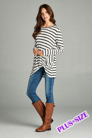 Long Sleeve Striped Top with Knot-Tops/Tunics-Moonshine and Lace Boutique