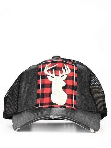 Buffalo Plaid Deer Hat-Hats-Moonshine and Lace Boutique