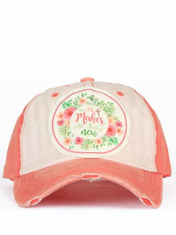 He Makes All Things New - Distressed Orange and Cream Hat
